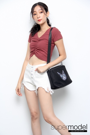 Viola Crop Tee Top (Red Brown)